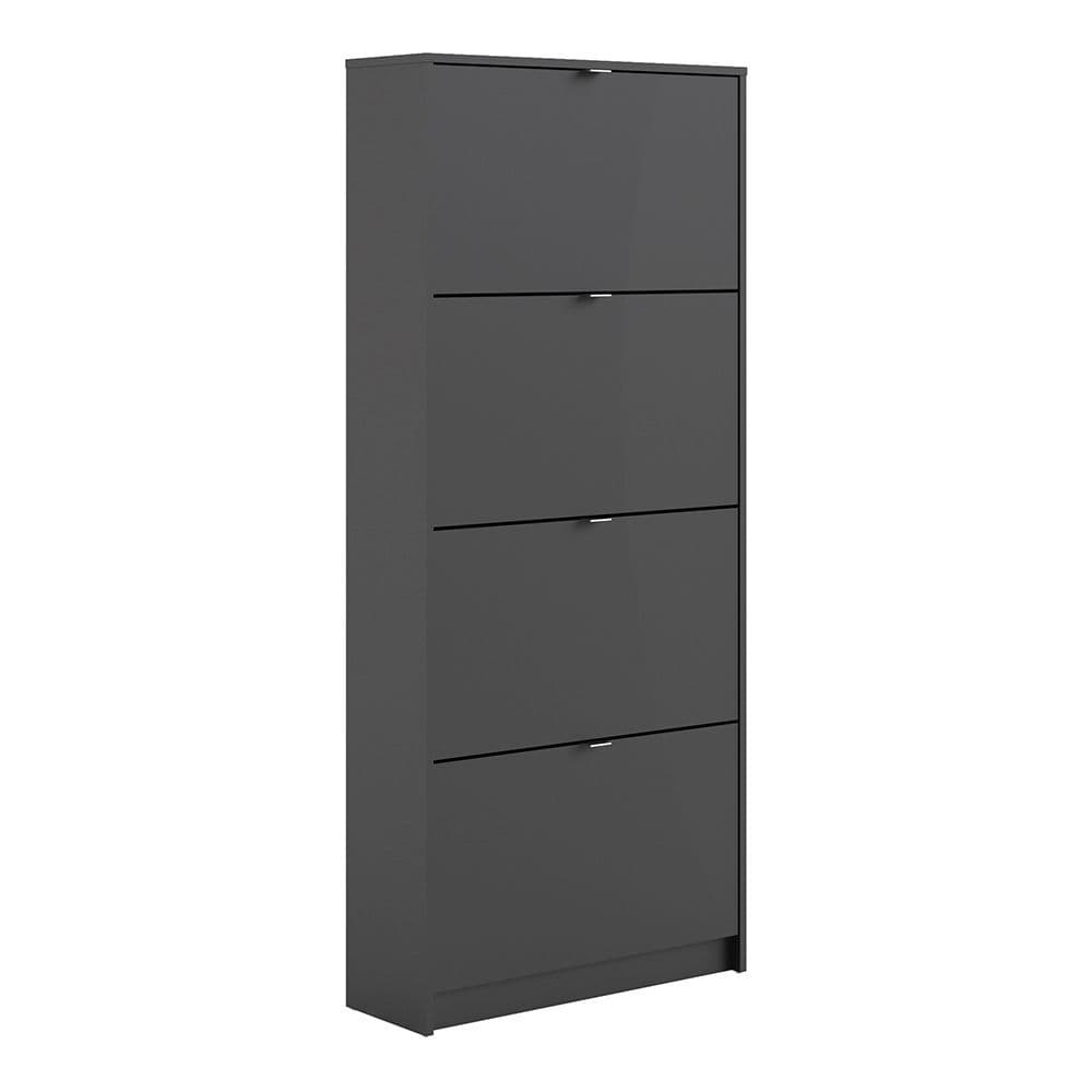 Footwear Shoe cabinet  w. 4 tilting doors and 2 layers in Matt Black